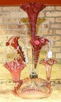 A Cranberry Glass Epergne