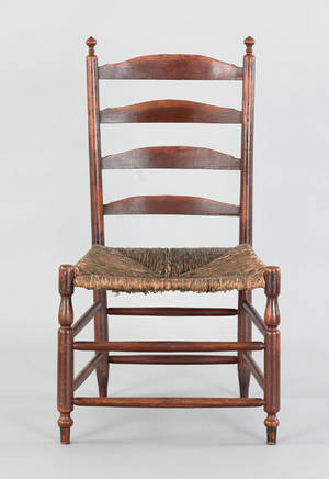 Rush seat ladderback side chair early 19th c