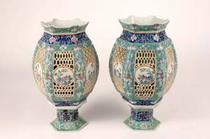 Pair of Chinese Export Porcelain Wedding Lanterns