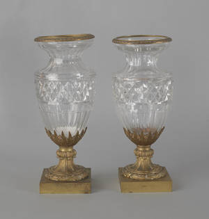 Pair of Continental ormolu mounted crystal vases 19th c
