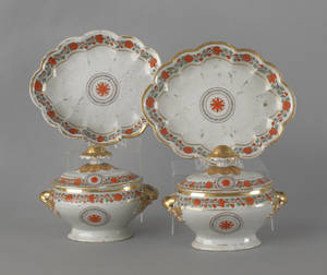 Pair of Chinese export porcelain sauce tureens ca 1800