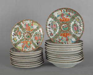Twentythree Chinese export porcelain rose medallion plates and shallow bowls 19th c