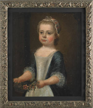 English 18th c oil on canvas portrait of a little girl holding a floral garland