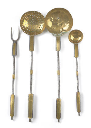 Set of four Pennsylvania wrought iron and brass utensils early 19th c