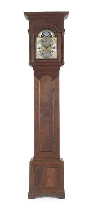 Rare New Jersey Queen Anne walnut tall case clock ca 1750