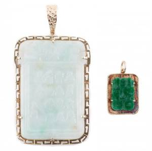 Group of Two Chinese Jade Necklace Pendants