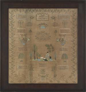 Chester County Pennsylvania silk on linen sampler dated