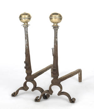 Pair of Continental brass and wrought iron andirons ca 1700