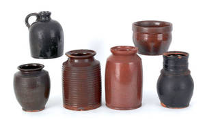 Five Pennsylvania redware pots 19th c