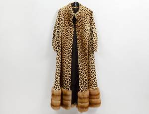 LADIES LEOPARD AND MINK FULL LENGTH COAT