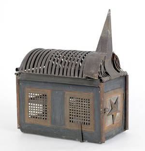 Painted tin church form squirrel cage late 19th c