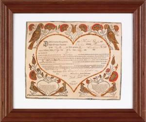 Ephrata printed and hand colored fraktur by J Bauman dated 1790