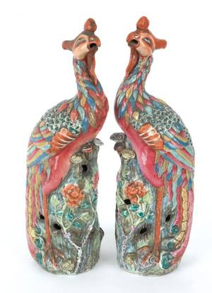 Pair of Chinese export famille rose phoenixes early 19th c