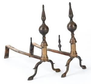 Pair of New York Federal brass steeple top andirons ca 1810