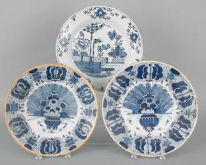 Three Dutch Delft blue and white chargers mid 18th c