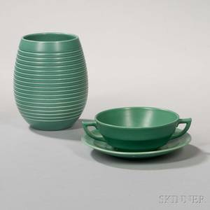 Two Wedgwood Keith Murray Design Matte Green Items