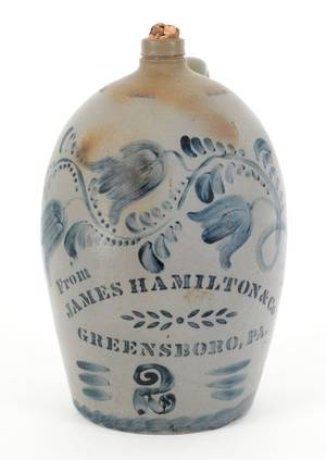 James Hamilton Greensboro Pennsylvania cobalt decorated stoneware jug 19th c
