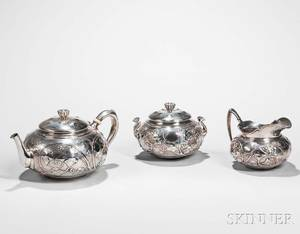 Threepiece Tiffany  Co Sterling Silver Tea Set