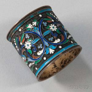 Russian 875 Silver and Enamel Napkin Ring