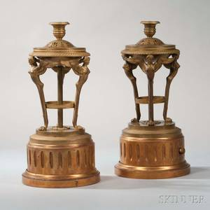 Pair of Continental Giltbronze Empire Candlesticks