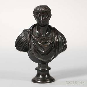 Continental School Late 19th Century Bronze Bust of Tiberio