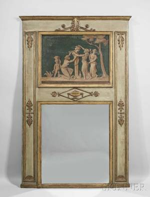 Louis XVstyle Trumeau Painted and Parcelgiltwood Mirror