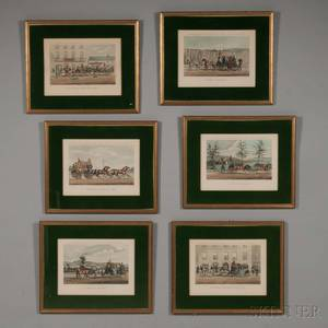 British School 19th Century Six Coaching Prints from the Series CarTravelling in the South of Ireland in the year 1856  Bianconis