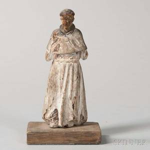 Continental Carved Wood Figure of a Friar