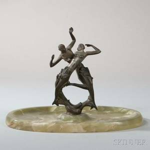 Art Deco Figural Bronze and Green Onyx Vide Poche