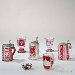 Seven Pieces of Bohemian Cuttoclear Glass