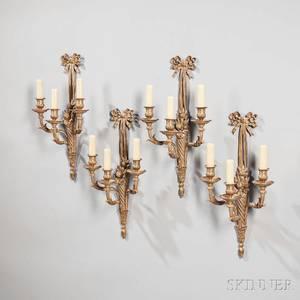 Set of Four Louis XVIstyle Giltbronze Threelight Sconces