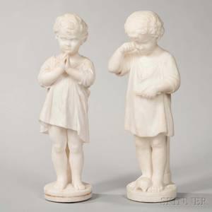 Continental School 19th Century Pair of Alabaster Figures of Children