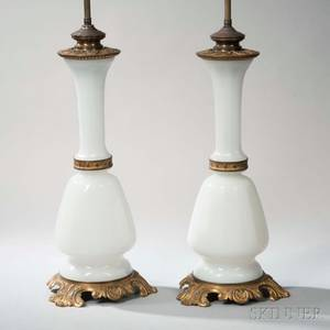 Pair of Giltbronzemounted Opaline Glass Lamp Bases