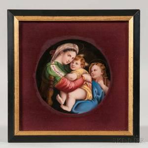 KPM Porcelain Plaque of Madonna Della Sedia