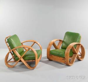 Pair of Paul Franklstyle Rattan Lounge Chairs