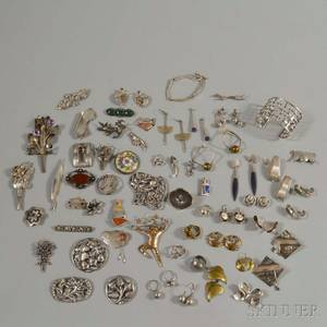 Group of Modern Sterling Silver and Silvertone Jewelry