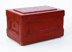 Red painted tool box with parquetry interior