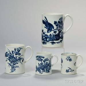 Four First Period Worcester Porcelain Blue and White Mugs