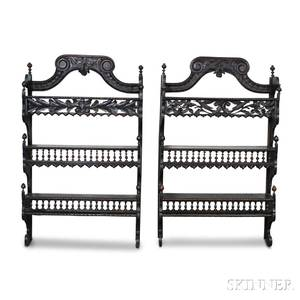 Pair of Continental Carved Oak Hanging Shelves