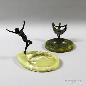 Two Art Deco Figural Bronze and Agate Dishes