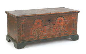 Berks County Pennsylvania painted pine dower chest dated 1785