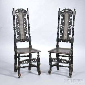 Pair of Baroque Blackpainted and Caned Side Chairs
