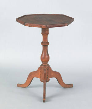 New England pine and butternut candlestand ca 1800