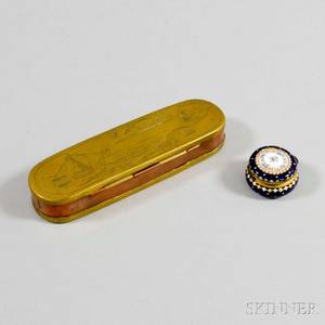 Dutch Engraved Brass Tobacco Box and an Enameled Brass Pillbox