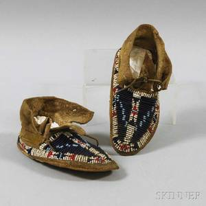 Pair of Cheyenne Beaded Hide Baby Moccasins