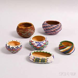 Six Paiute Beaded Baskets