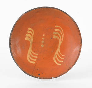 Redware charger 19th c