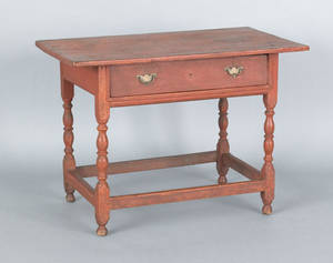 New England William  Mary painted pine and maple tavern table ca 1740
