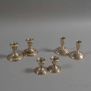 Three Pairs of Sterling Silver Weighted Low Candlesticks