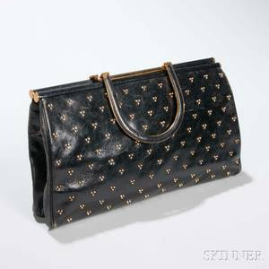Judith Leiber Black Leather Studded Clutch
